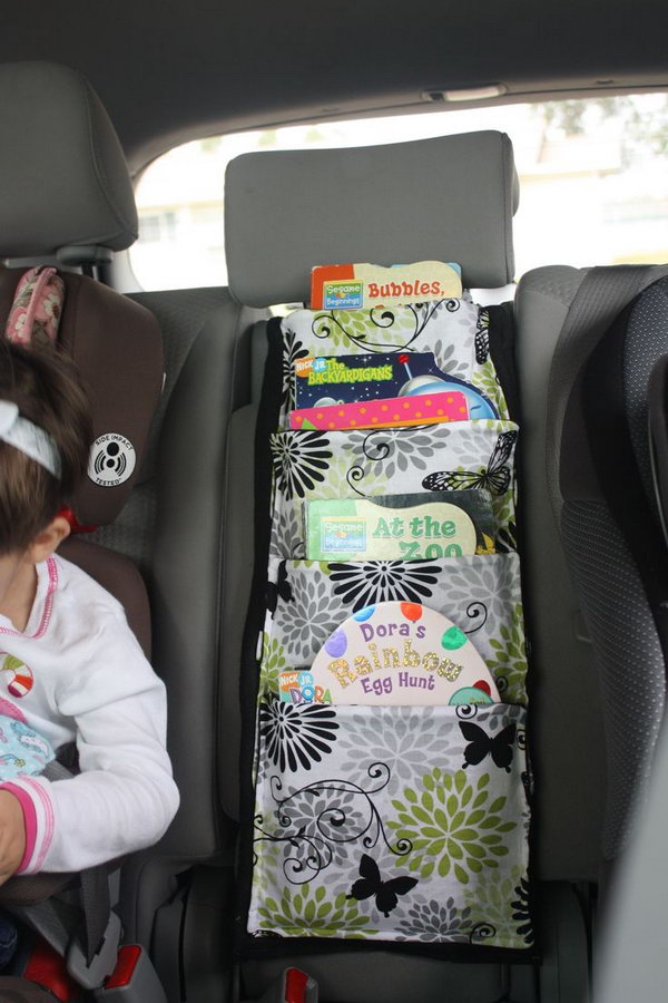 You can make some cloth bags, and then attach them on the back of the seat in your car as a book holder for your passengers' reading.