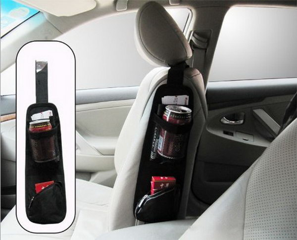 Seat side storage pocket. You can get this one in a store. It can be used to keep your items like cigarettes, pencils, or some drinks, etc. well organized and your car tidy, plus making full use of space.