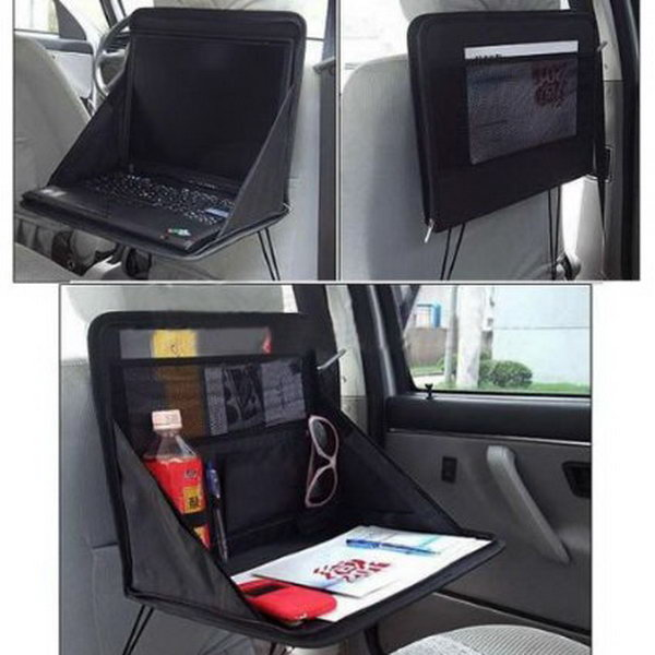 Laptop Holder. It makes full use of the little car space as a good storage of whatever necessities, such as snack, food, drink, etc. Artfully and is easy to install and use.