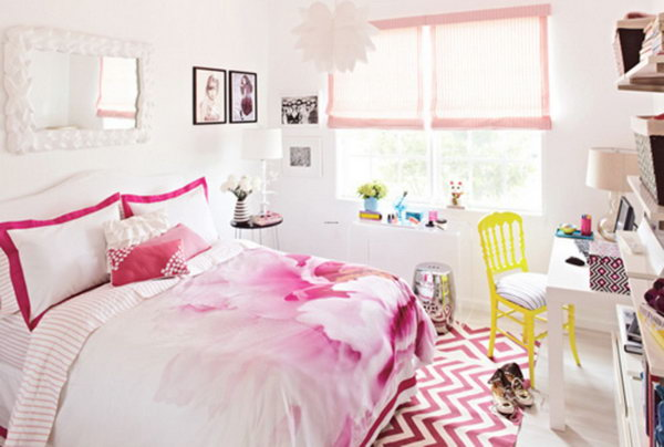 Look at this bedroom with beautiful vibrant pink and white elements are the love of most teen girls. It is full of harmony and sweetness.