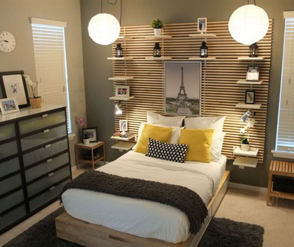 The key features of this bedroom are the MANDAL bed frame with storage drawers, for things like your off-season clothes, blankets, etc. and the MANDAL headboard with the bedside shelves ,which do not impact your floor space. It looks organized, warm and cozy.