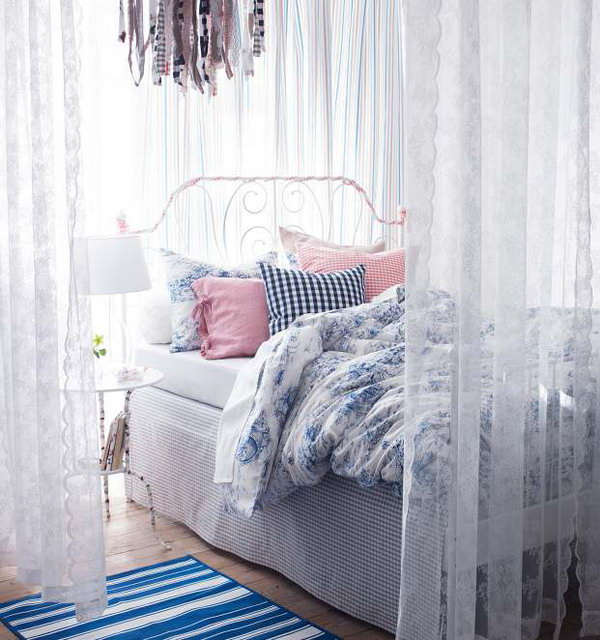 When we see this bedroom, we will feel pure and fresh with some light colors, like white, blue, pink, etc. This design is ideal for girls.