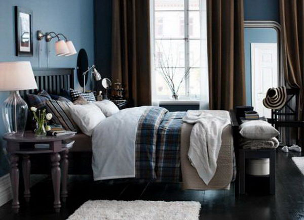 This bedroom gives us the dark feeling with the white and black colors. But it will be the love for  most gentlemen.