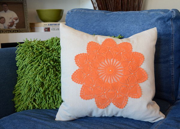 Take some ratty old thrift store doilies and dyed them with Dylon dye. You can get the step-by-step tutorial