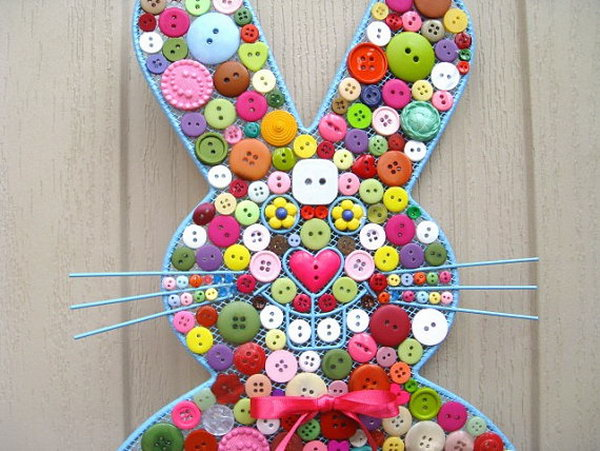 Easter Bunny Button Decoration. This button bunny is covered with buttons of various colors in different sizes and shapes, it really goes for the spring Easter decoration selection.