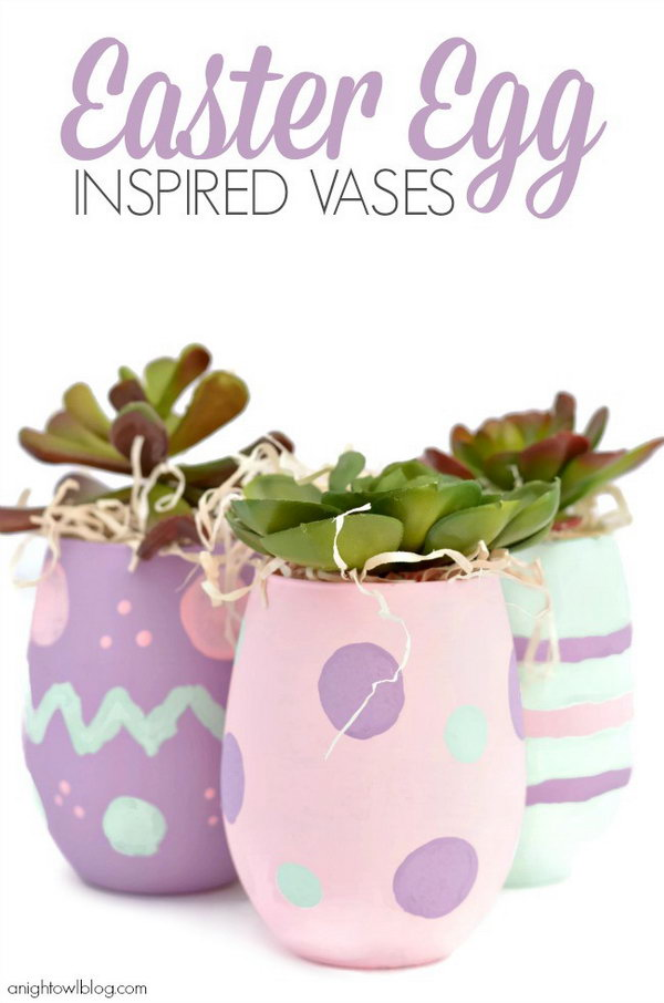 "Easter Egg Inspired Vases. Paint the glasses with ""Easter Egg"" patterns. Fill the vases with natural filler and faux succulent stems. Make your very own to bring surprise to the Easter decoration project."
