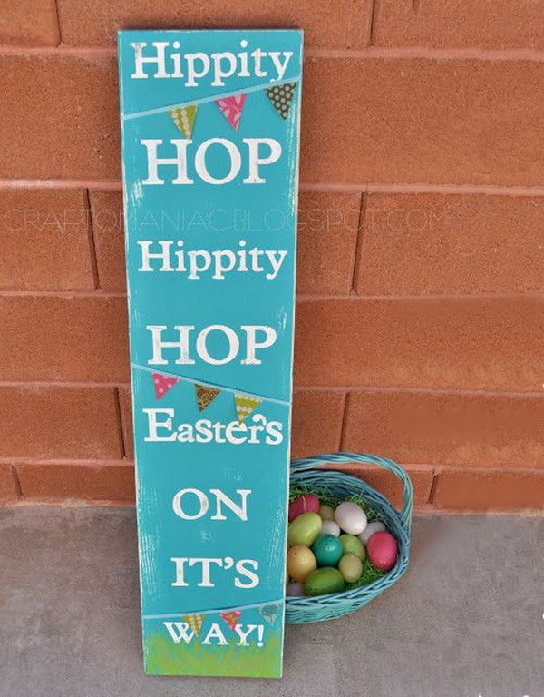 Easter Subway Art sign. Paint the long board with acrylic paint, tape the words onto the board and glue the cute pennant at the right place of the board. It's done with 3 simple processes. Try to DIY this cool subway design for your Easter decoration.