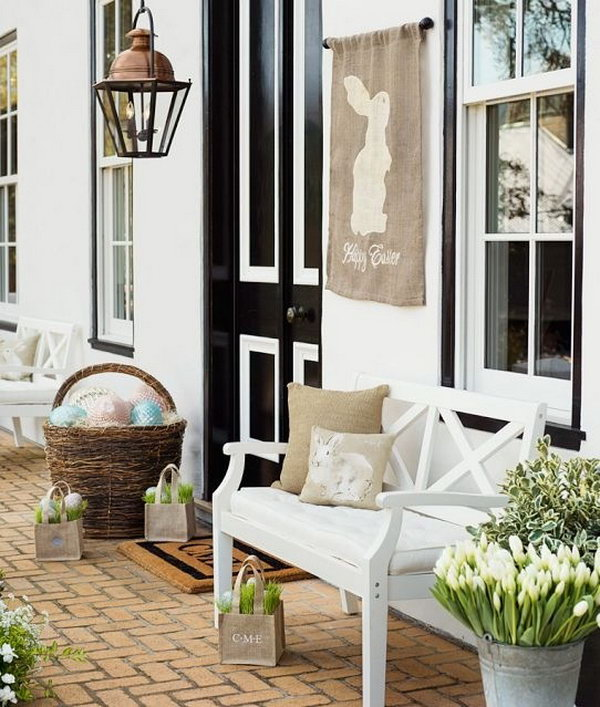 Easter Porch Decoration Idea. I appreciate this decoration style with amazing grace. Display some fresh plants and baskets filled with Colorful Easter eggs. You can enjoy the good time sitting on your armchair.