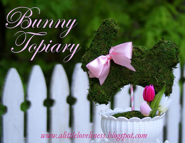 Make a Bunny Topiary. Pick up a white bowl and cover with a circle of sheet moss. Add some pink Easter eggs and silk tulip. Insert a moss covered bunny onto the stripe. Decorate the bunny with a pink ribbon around the neck.
