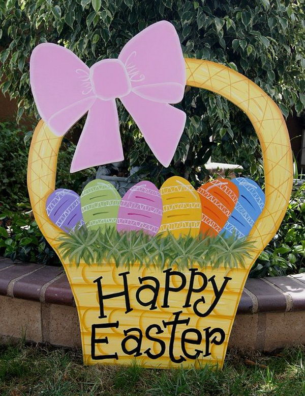 Easter Basket Yard Art. This cute Easter basket is made of Baltic birch piece with 2 coats of polished varnish for protection. It's so great to decorate your yard with this bright color art-piece.