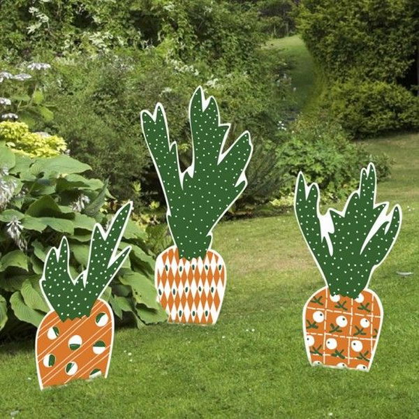 Carrot Easter Yard Sign Set. When it comes to the element of Easter decorations, you may think about bunny and Easter eggs. These Easter carrot yard signs  and stakes gives off a new look for Easter decoration. They are fade-resistant and can last from bad weather.