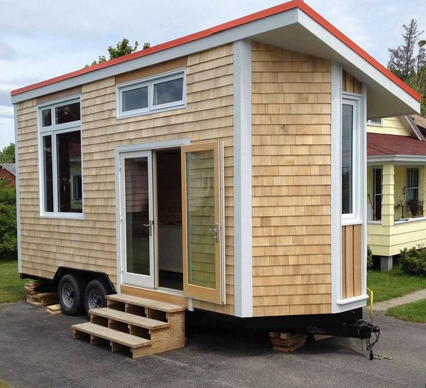 Tiny house on wheel. The tiny house is very attractive both inside and out. It can take you to the place wherever you wanna go.