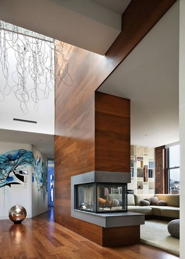 House with modern fireplace. With a fireplace that really warm up the room, you are never scared to spend the cold winter.