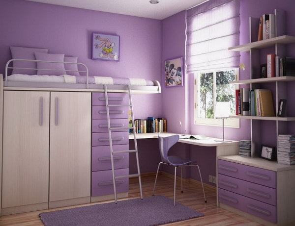 Lilac bedroom. You absolutely adore all the storage space in this room. It's perfect for a lover of purple color and a kid who likes things clean.