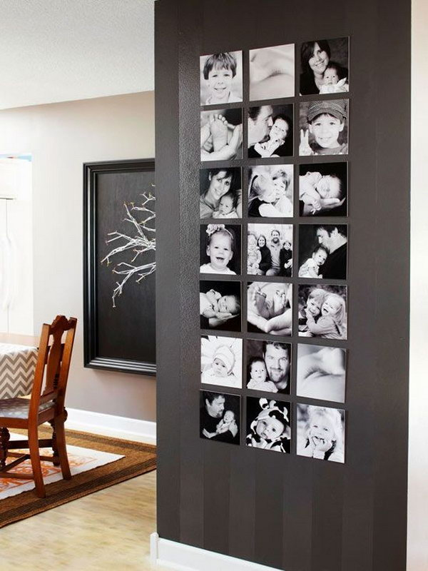 Family snapshots wall. Print family snapshots in black and white, and hang it in black dollar shop frames. The house is full of the smell of love.
