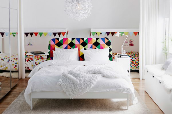 The amazing points of this bedroom design are two kid's bedroom rightly behind mom's bedroom with a curtain. Mom and kids can play and read together before the bedtime with the curtain open, and they can also have their own space and things with the curtain closed.
