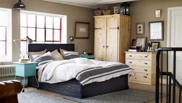Designing a cozy and comfortable bedroom doesn't cost a lot. You just need to put some practical furniture inside. How about this bedroom with the raw wood wardrobe and chest of drawers, metal accents, and soft textiles?