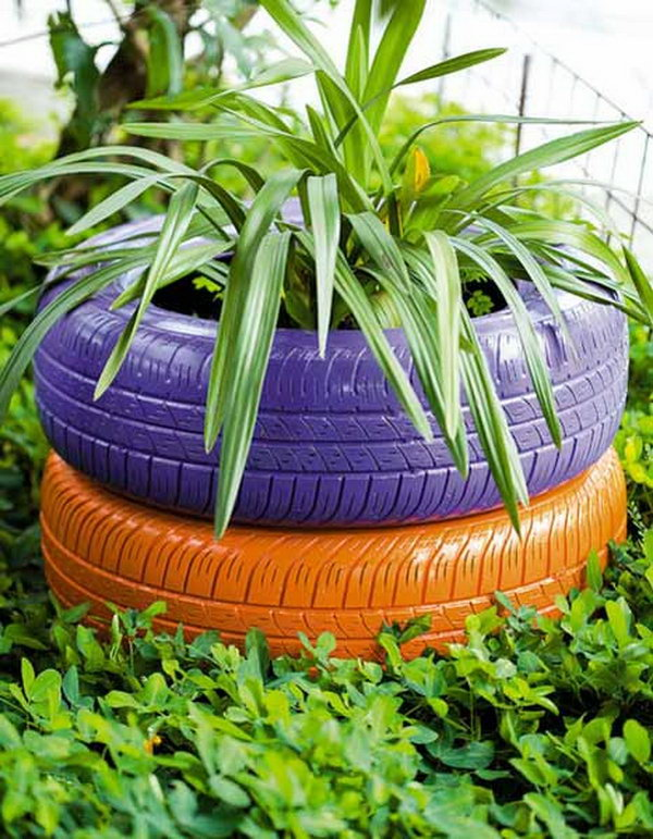 Get the used car tires colored and decorated with plants and flowers.It will be a beautiful scenery in you garden.