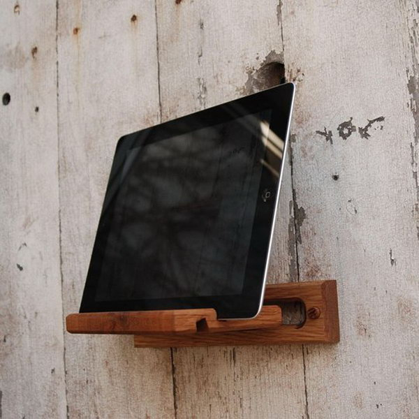 iPad Easel. This iPad easel with its mounting shelf serves as the perfect accommodation for your iPad device in any rooms of your home. The design is simple yet the visual effect is fabulous.