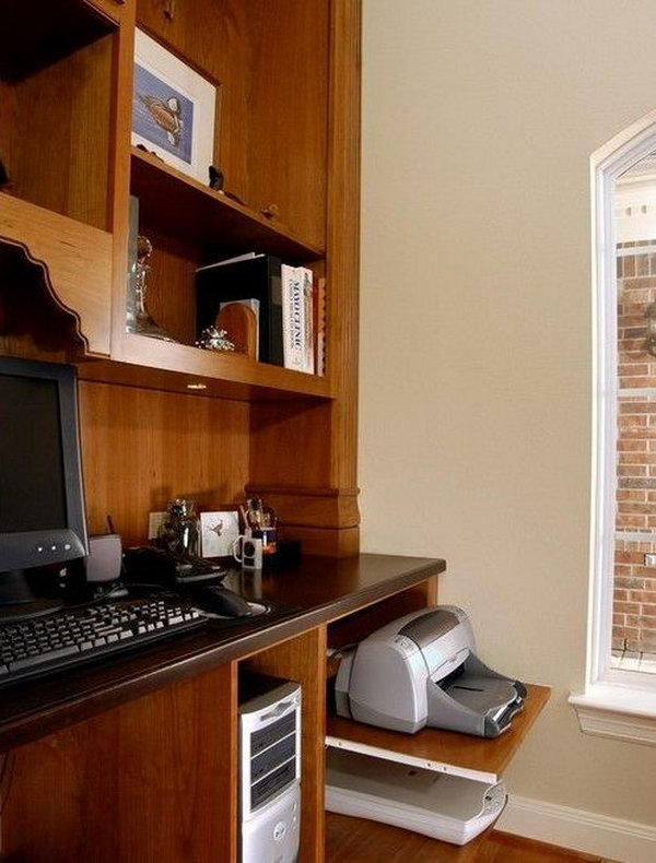 Home Office Equipment Management. Here offers a practical solution with pullout shelving underneath the desk, a cabinet with a shelf or big deep drawers to keep your computers, printers well organized in a simple yet clean outlook.