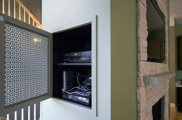 Hanging Wall Electronics Organization. Install an organization system to keep the space tidy. This hidden niche is perfect to tuck away components for a wall-mounted TV with the contractor design.