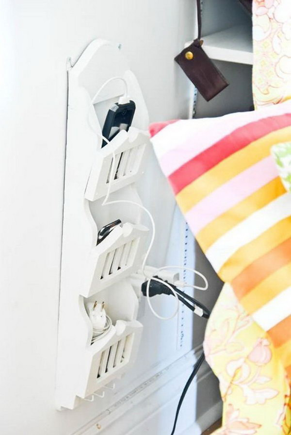 Wall Mounted Bedside Station. Keep all your devices and tiny electronic gadgets handy with this cute storage idea by fastening a wall mounted bedside station.