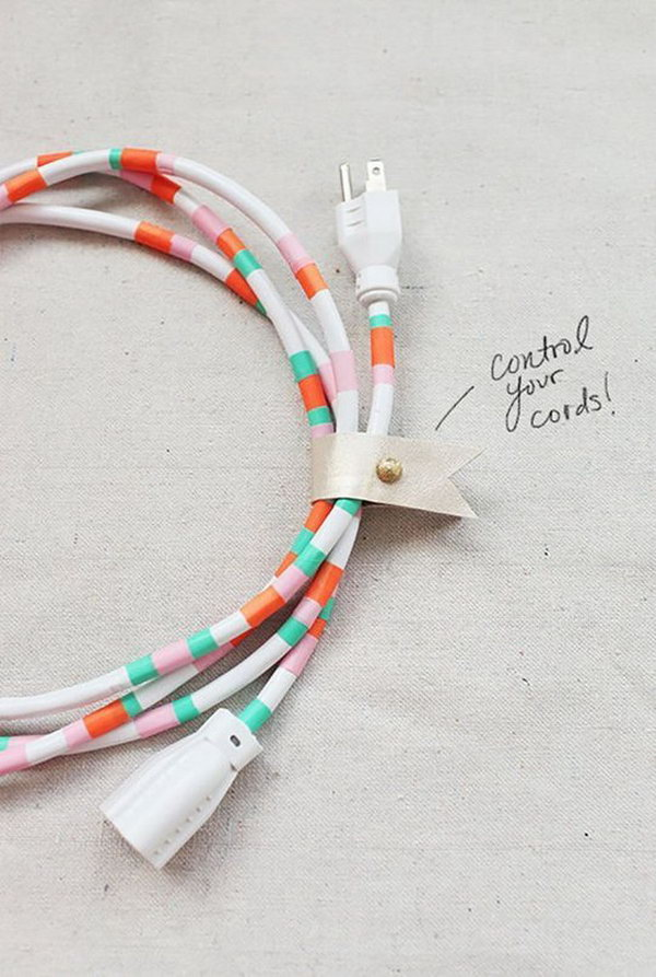 Decorative Power Cords. Create this pretty cord organizer by cutting pieces of tape, wrapping waterproof tape around the cord to finish off its fantastic outlook.