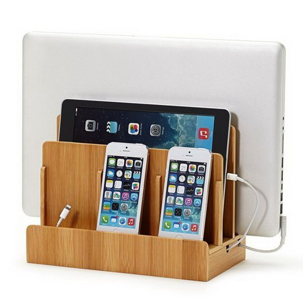 Bamboo Multi Device Charging Station. This storage unit is perfect to keep your gadget well organized. This bamboo multi device can also serve as a wonderful thing to enlight your decor.