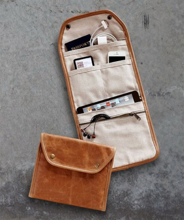 Gadget Carrier. This flip open zipped gadget case keep all your essentials well organized in style crafted in a supple leather and lined with soft cotton canvas. It's a perfect solution to keep all your devices.