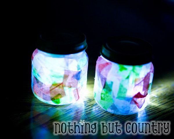Night Light Jar Craft. Cover layers of colorful tissue paper all over the jar, add a good coat of glue to seal. Place a LED light to finish off this adorable piece of art for illumination as well as for garnishment.