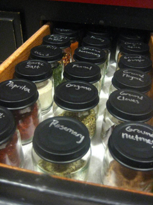Spice Organization. Mark each jar with chalkboard spray paint for easy identification. Display them on an empty drawer. You can fill the jars with all kinds of spices to get things organized and save your space.