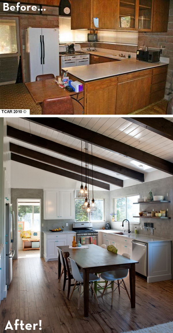 Before and After: a Rustic Modern Retreat. The family updated their 60s cinder block kitchen to a rustic modern reveal. With exposed beams, marble countertops, hardwood floors and a hand-built farm table, they cut a lot of cost. I especially love the little  blue hardware which add a fresh look to this rustic space.