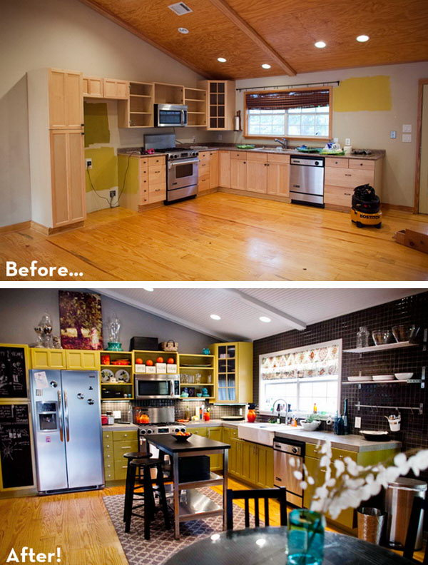 Before & After: A Colorful DIY Play Kitchen! If you're ready for an upgrade of your old fashioned oak cabinets and 80's look in your kitchen. Check out this transition to a new modern looking kitchen in this reveal. And this is really an eye candy which plays on color. I love every single detail in this kitchen and I'm sure this is a budget friendly make over that is affordable.