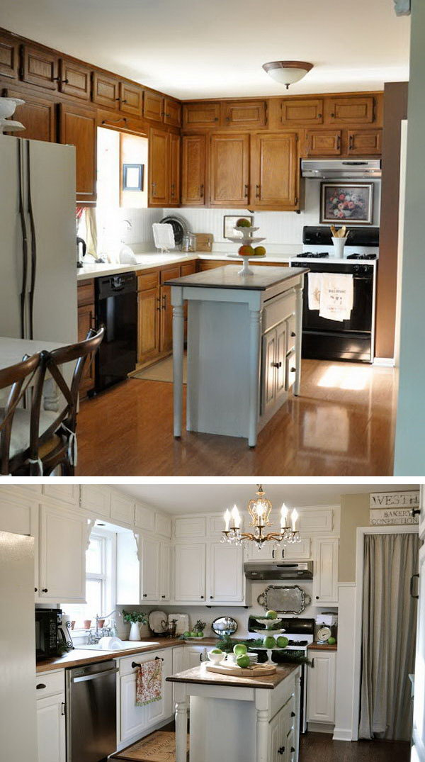 Before: Simple Cuisine. After: A White Revelation. Great kitchen redo on a budget- before's and after's !