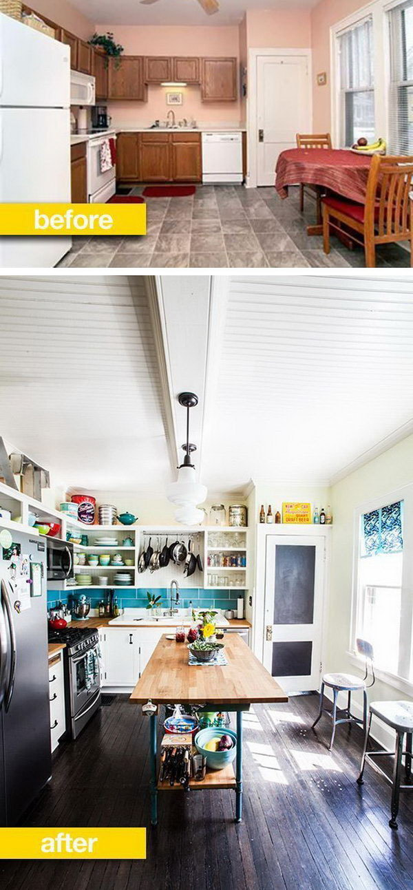I love everything about this kitchen, the  sink, the  chalkboard door, the flooring, the industrial kitchen island and chairs, the open shelving, and that blue tile backsplashes.