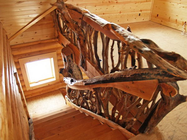 Thick, rough-cut tree railing.  No matter what style you choose, nothing does more to determine your deck's look than railing. These creative thick, rough-cut rails add powerful muscle to the rustic look and you can have a try on your own deck.