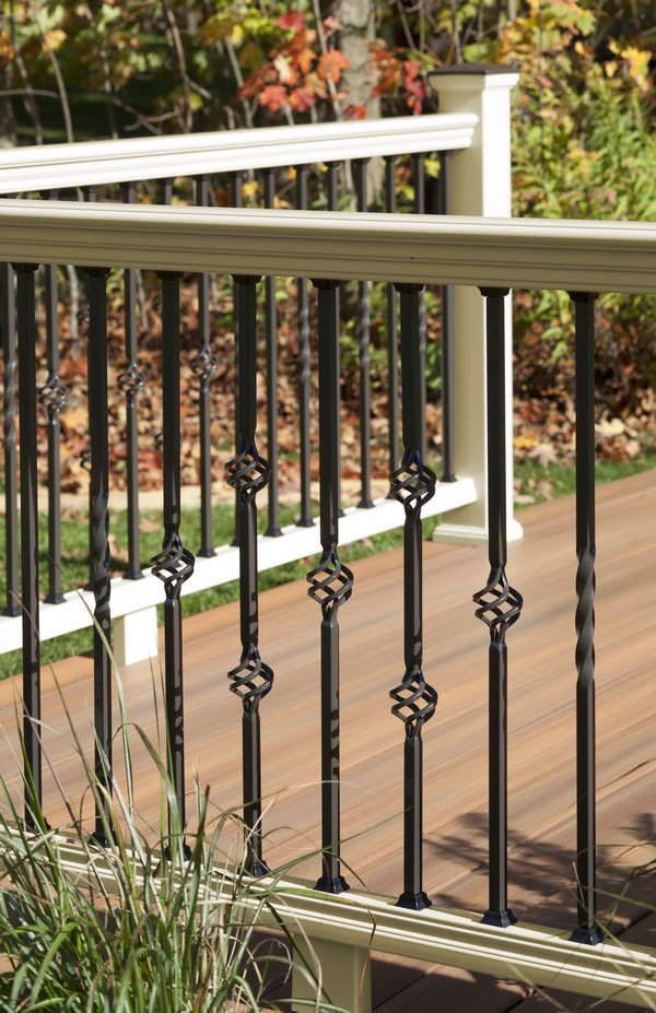 Vintage panorama railing. Colonial steel balusters combine the look of basket accessories recall traditional colonial times.
