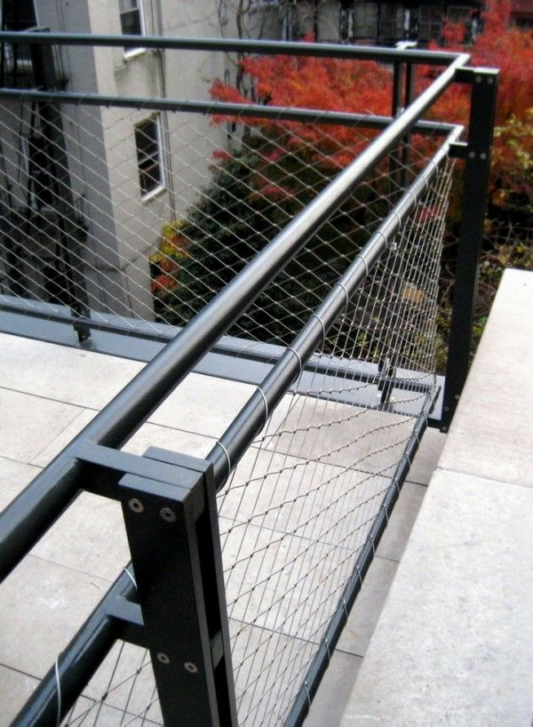 Metal wire and steel deck railing.  Metal+guard+rail stainless steel deck rails are keeping hot since they are inexpensive, stylish and durable.  And this one is easy to DIY at home with simple tools and materials.