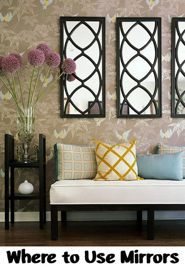 Decorative mirrors on the wall. A mirror decorated with the same style as the whole of the room can be used as a perfect artwork.