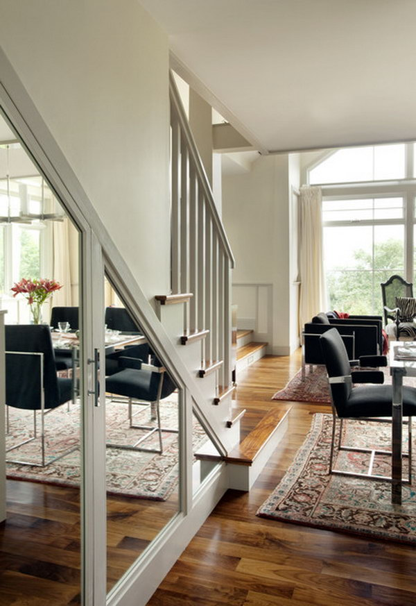 Stairs mirror to enlarge room. Stair mirrors will leave the feeling that your room is wide open.