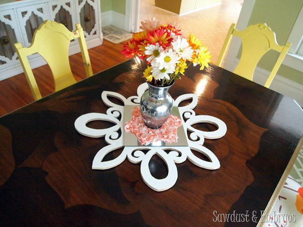 DIY Scalloped and Mirrored Table Centerpiece. If you are a fan of scroll saw projects, this fantastic mirrored table centerpiece will be a must-have accessory to make for your living room.