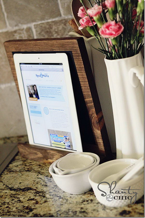 Scrap wood iPad stand. It's quick,easy and cheap to creat an iPad stand out os a scrap wood. It is great for following recipes online in the kitchen and playing games.