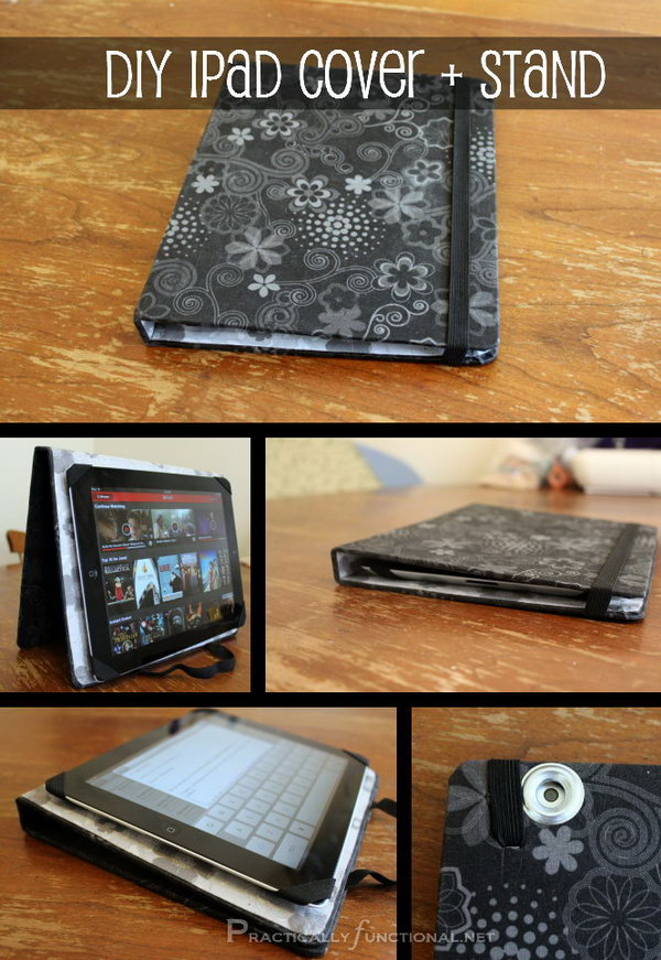 DIY fabric iPad stand. This iPad stand is so easy to make. All you need is an old binder, fabric and glue. The most important is that this stand can be double-used as a cover. I love this iPad stand and case very much.