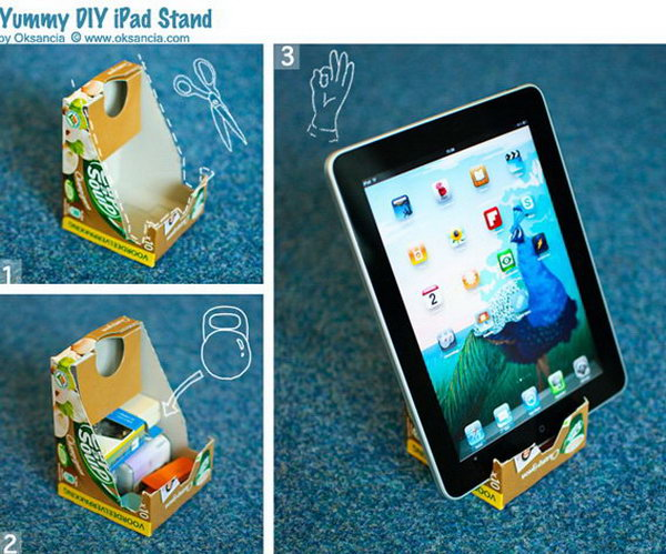 DIY yummy iPad stand.You can make use your favorite cardboard boxes to make an iPad stand. But you should remember to put something heavy inside to keep the steadily.