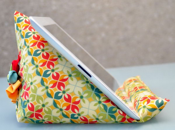 iPad beanbag stand.This stand is not only functional as a stand for iPad but also decorative in your house.