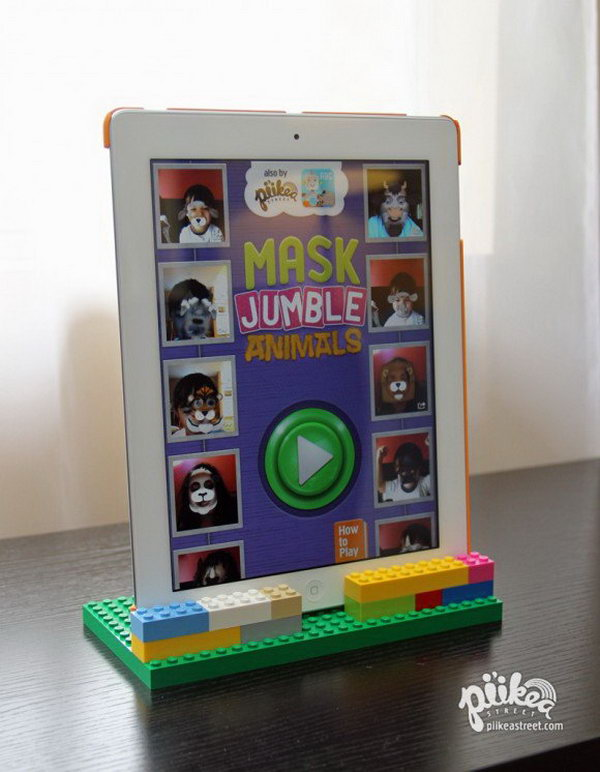 DIY LEGO iPad stand. All kids will love this cool LEGO iPad stand very much.