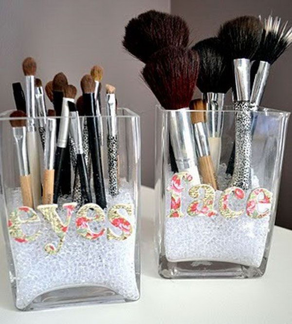 This is a simple idea to use the old glass containers to make a brush organizer. Lable the category names of your brushes for using next time.