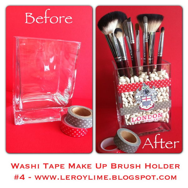 Washi Tape Make Up Brush Holder. This washi tape makeup brush organizer is super easy to make and incredible cute. Do you want one like this? Instructions here.