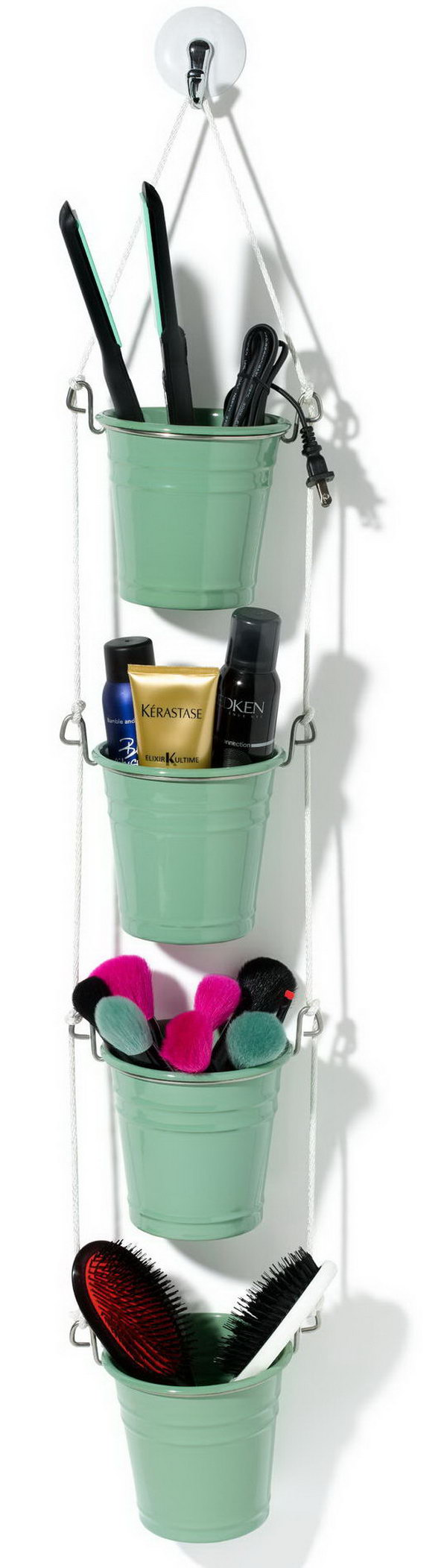 Cute Hanging Organizer for makeup. This cute little hanging basket makeup organizer is really a great gift on giving on Mother's Day. Start to make one for your beloved mother. Step-by-step tutorials here.