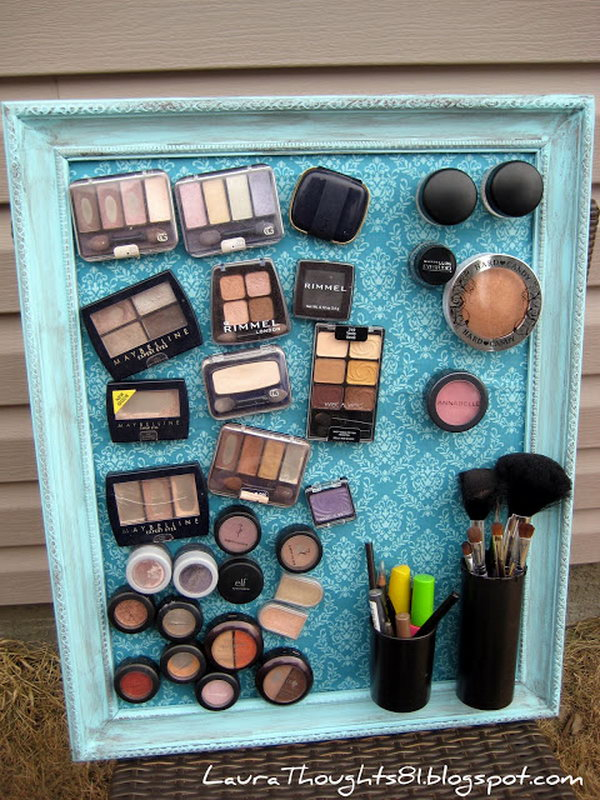 DIY Make-up Magnet Board. This magnetic makeup board adds more elegance to your bedroom as it hangs near your dresser. You stick magnets at the back of all your cosmetics and voila. With a nice frame metal plate, all of your makeup will be well-organized on the magic board.